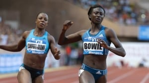 American Tori Bowie, right, finishes ahead of Jamaica's Veronica Campbell Brown at the Herculis International Athletics Meeting, at the Louis II Stadium in Monaco on Friday.