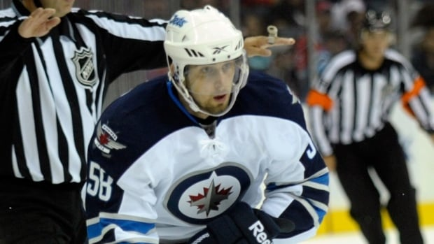 Eric O'Dell during an NHL pre-season game against Carolina Hurricanes on September 25, 2011. He was one of three fowards the Jets signed contracts with, the team said Saturday.