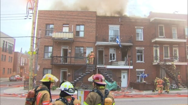 Fire officials say the fire began with an unattended frying pan in a second storey unit of the Fullum Street triplex.