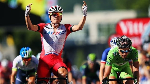 Alexander Kristoff, shown here after winning Stage 12 earlier this week, also pulled off a victory on Sunday.