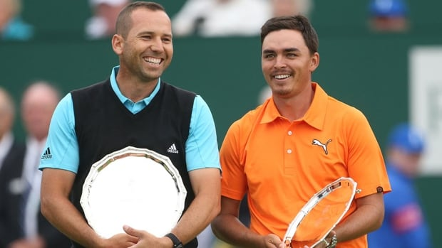 Sergio Garcia, left, finished second in a major championship for the fourth time in his career on Sunday.