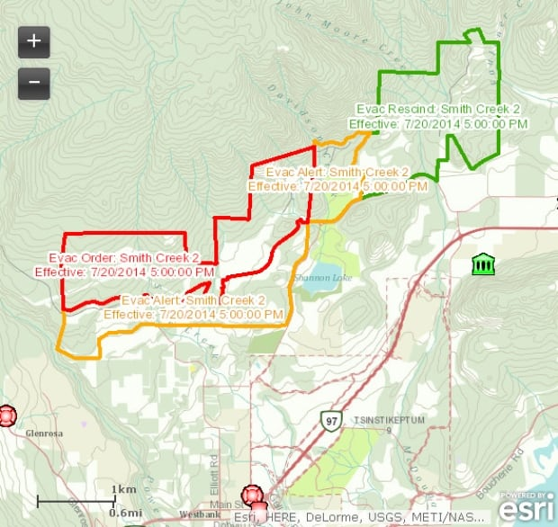 West Kelowna Wildfire Evacuation Order Rescinded For