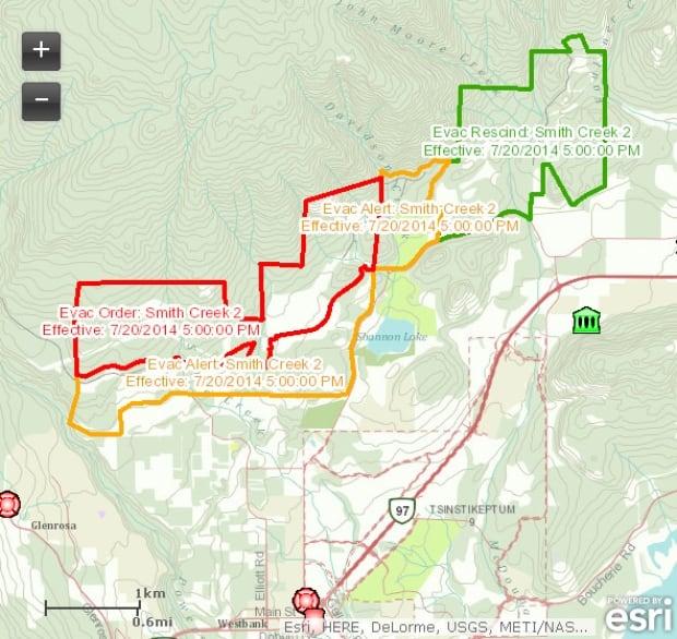 Kelowna-Evacuation-Map - Sunday, July 20 - 5 pm PT