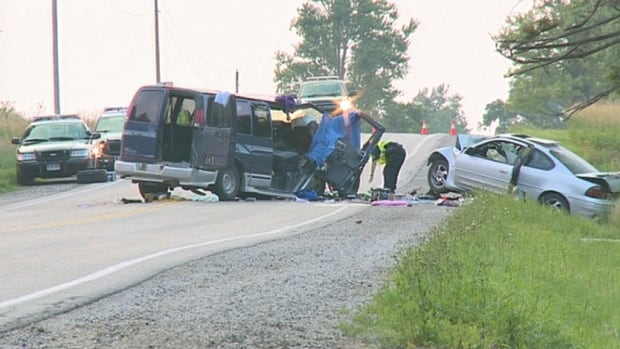 The OPP say 10 people were injured when a car struck a van head-on south of Stratford, Ont., on Sunday afternoon.
