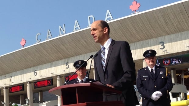 Steven Blaney, minister of public safety and emergency preparedness, on Monday helped announced changes for crossing the border at the Peace Bridge between Ontario and New York.