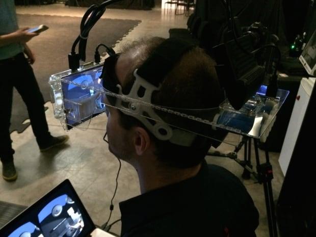 Aaron Hilton wears a Somnus VR headset