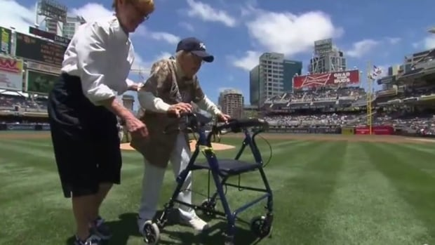 Agnes McKee, 105, was impressive in throwing out the ceremonial first pitch at the San Diego Padres game Sunday.