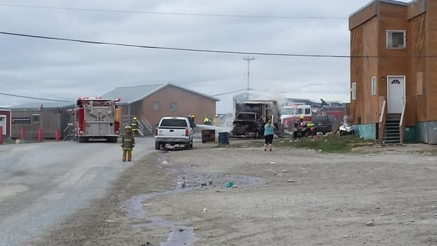Rankin Inlet's only garbage truck caught fire on Monday, July 21, 2014.
