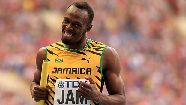 MOSCOW, RUSSIA - AUGUST 18: Usain Bolt of Jamaica crosses the line first win gold in the Men's 4x100 metres final during Day Nine of the 14th IAAF World Athletics Championships Moscow 2013 at Luzhniki Stadium on August 18, 2013 in Moscow, Russia.