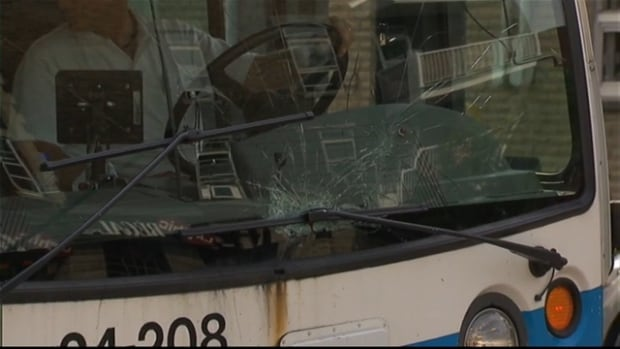The STM bus struck the pedestrian in front of the Charlevoix Metro station.