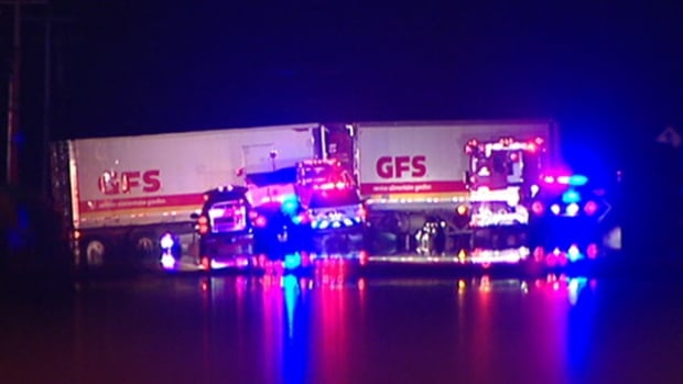 A man died after his vehicle collided with this transport truck on Maloney Boulevard East early Wednesday morning, Gatineau police say.