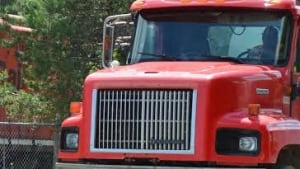 truck cab, red