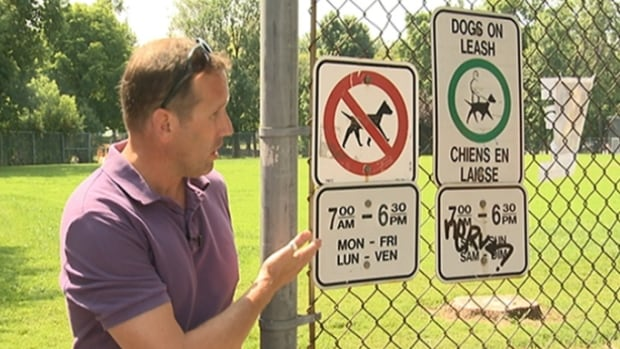 Dog owner John Dacombe says he's been bitten twice by an unleashed dog at McNabb Park, where signs indicate dogs aren't ever allowed off leash.