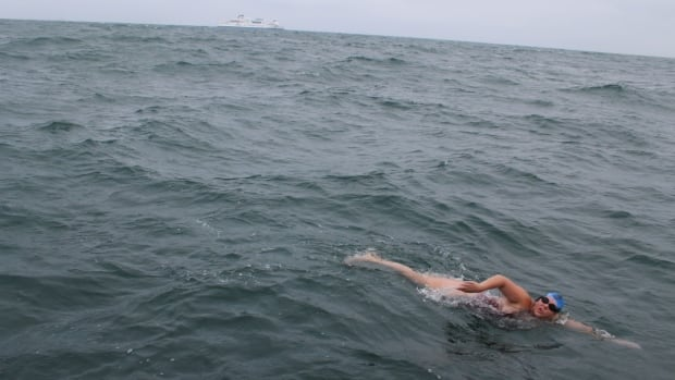 Meghan Chisholm said she was a little more than halfway across the English Channel when she swam through a school of jellyfish. She was stung multiple times, but just kept going.