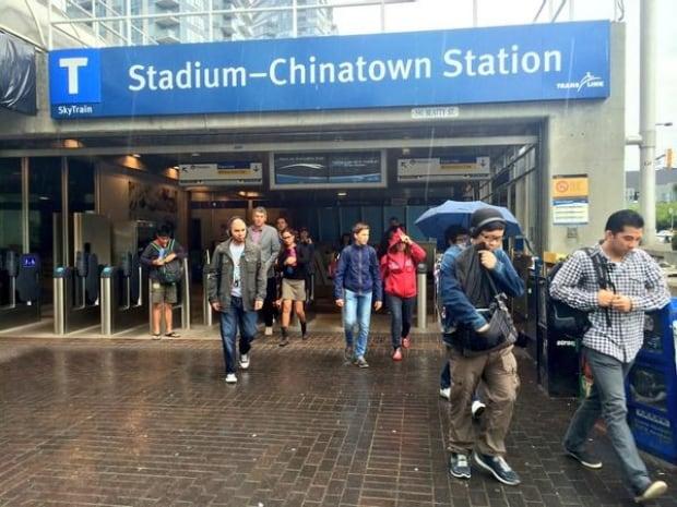 SkyTrain commute Stadium-Chinatown Station - July 23, 2014