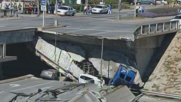 Five people died when part of the De La Concorde overpass in Laval collapsed onto the road below. Six others were injured.