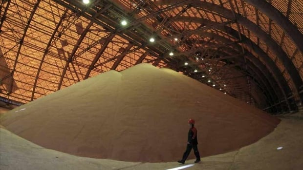 A mountain of mined potash is seen in a holding facility belonging to Russia's Uralkali, the world's biggest potash producer.