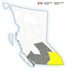 Environment Canada weather warning map - July 23, 2014
