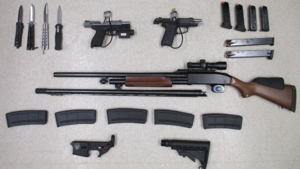 A 50-year-old man from Michigan has been charged after three guns, several knives and other prohibited items were seized at the North Portal, Sask., border crossing.