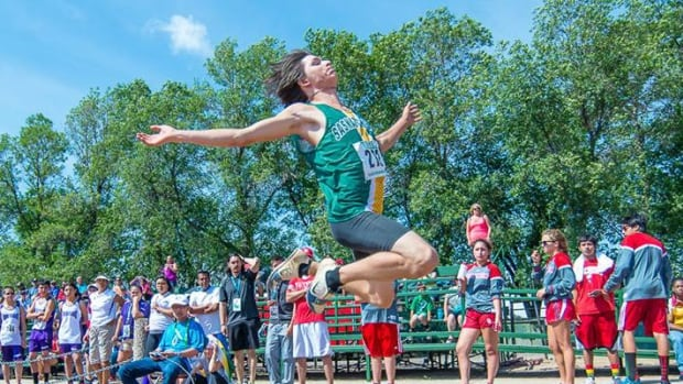 Long jumper Quaid Robinson of Team Saskatchewan wins the gold medal at the 2014 North American Indigenous Games in Regina. Former semi-pro hockey player Derek Fox says sports will help to build the next generation of aboriginal leadership.