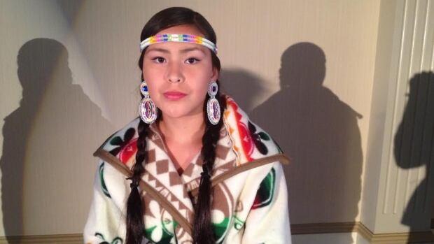 Model Amanda Worm wearing Gordon's First Nation designer Becki Bitternose's creation.