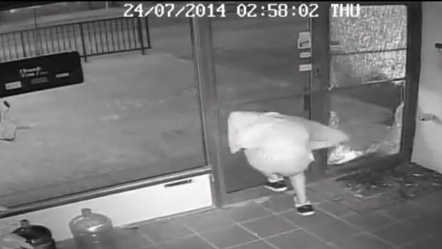A thief smacks into a door while trying to run out of a Brandon business that he broke into.