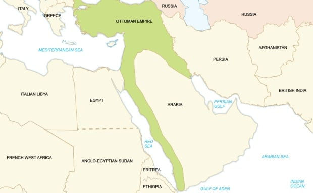 Middle east map pre ww1