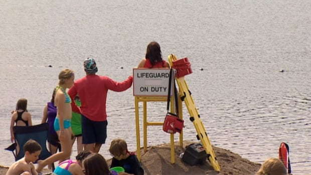 Little River Reservoir beach was closed after a lifeguard spotted an oily-looking substance on the water.