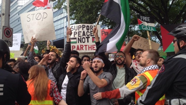 7:15 p.m. MT: Hundreds of pro-Palestinian supporters are chanting as emotions rise at Calgary City Hall.