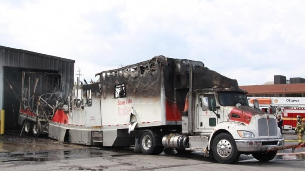 "Ottawa fire officials say an electrical issue in this trailer, a Canadian Blood Services ""bloodmobile"", is the suspected cause of a $1.1 million warehouse fire Saturday, July 26, 2014."