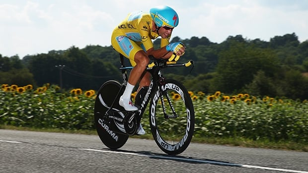 Vincenzo Nibali cycles Saturday in the 20th stage of the Tour de France, a 54km individual time trial from Bergerac to Perigueux.