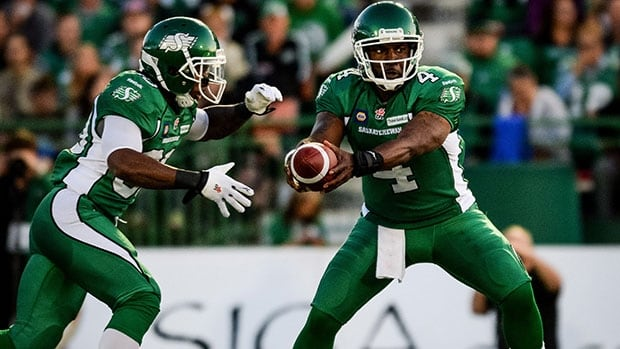 Saskatchewan Roughriders quarterback Darian Durant, right, and running back Will Ford each scored a touchdown in a victory over the Toronto Argonauts Saturday night.
