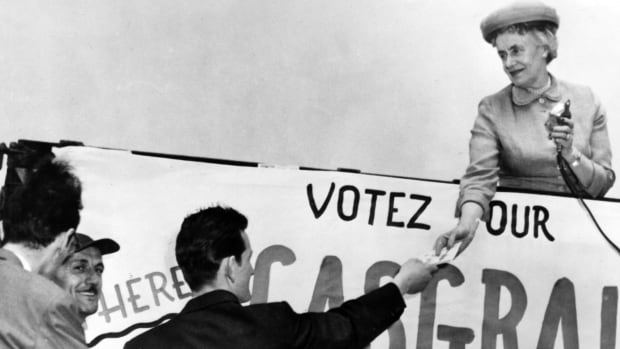 Thérèse Casgrain, president of the League for Women's Rights in Quebec from 1929 to 1942, is pictured during an election run in 1967.