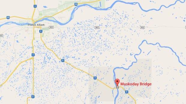 Muskoday Bridge is about 24 kilometres southeast of Prince Albert.