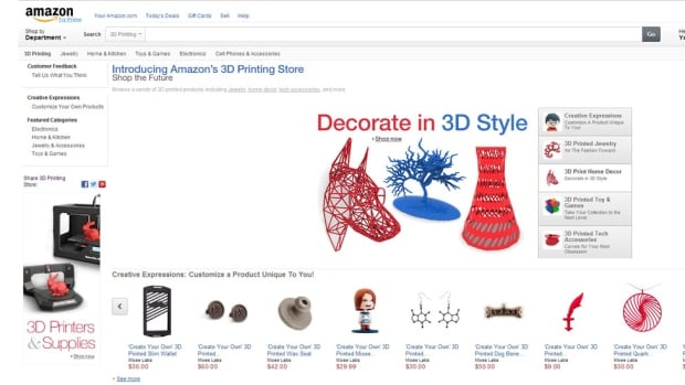 Amazon launched its 3D printed products marketplace Monday, offering custom-manufactured items including jewelry, home decor and toys.