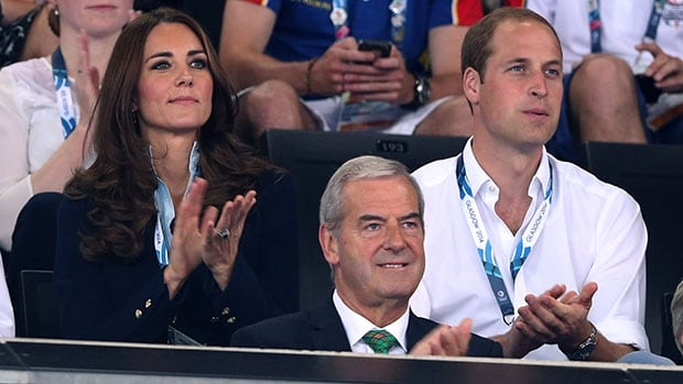 Prince William, right, and the Duchess of Cambridge watch gymnastics competition at the Commonwealth Games in Glasgow.