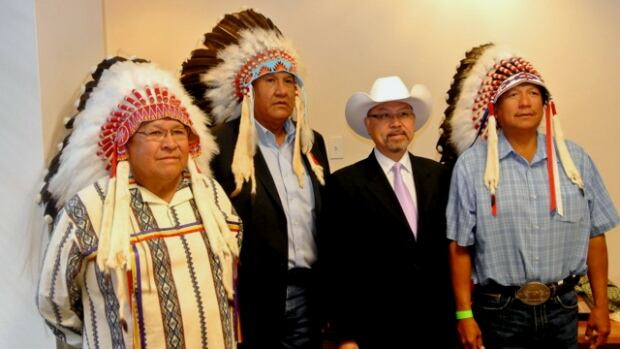 Chief Ernest Wesley of the Wesley Nation, Chief Bruce Labelle of the Chiniki Nation, the managing director of Huatong Petrochemical Holdings Ltd., Alick Au, and Chief Darcy Dixon of the Bearspaw Nation have signed a joint venture agreement to develop and explore Stoney Nakoda territory for oil and gas.
