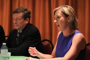 John Tory and Karen Stintz at mayoral debate on July 28