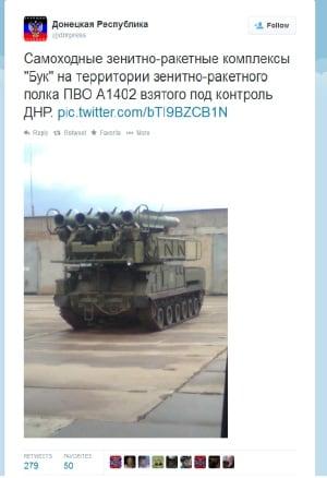 Pro-Russian rebels post on Twitter