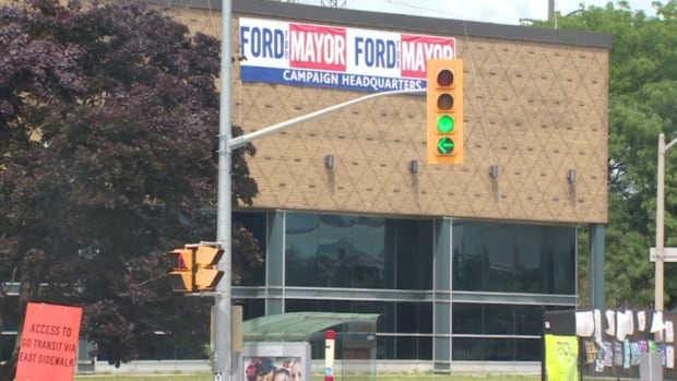 Mayor Rob Ford's election team wasted no time on the first day election posters were allowed to be posted in campaign offices.