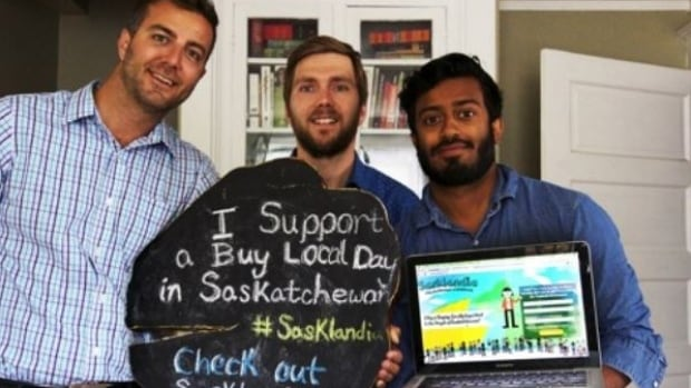 Sasklandia (Kurtis Muench, Fred Reibin and Roshan Hoover) wants more people across the province to buy local.