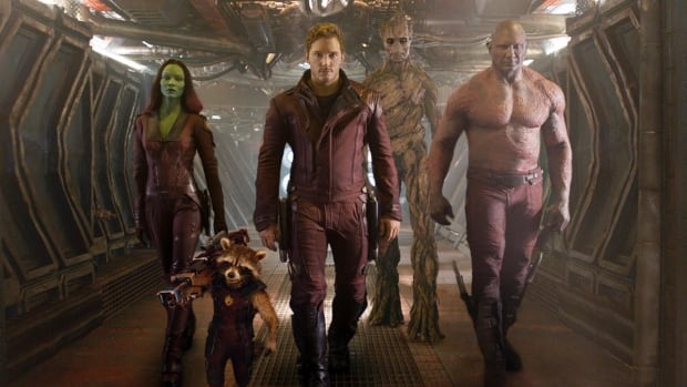 Guardians of the Galaxy stars Zoe Saldana, Rocket Raccoon voiced by Bradley Cooper, Chris Pratt, Groot voiced by Vin Diesel and Dave Bautista. The movie opens on Friday, Aug. 1.
