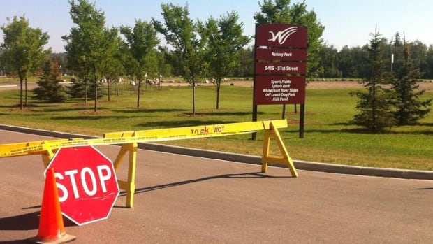 RCMP blocked access to Rotary Park in Whitecourt as they continued their search for a missing 19-year-old man.
