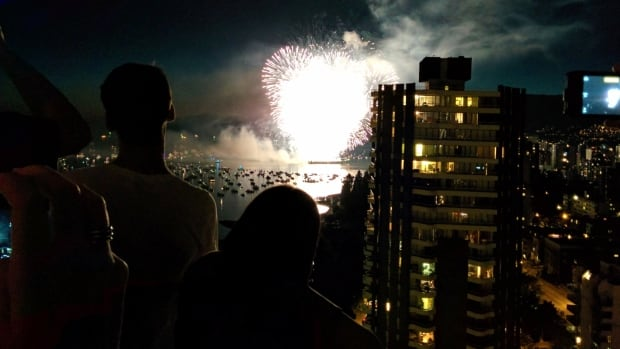 CBC web writer Jenni Sheppard took this shot of the Celebration of Light fireworks on her Nexus 5 mobile phone.