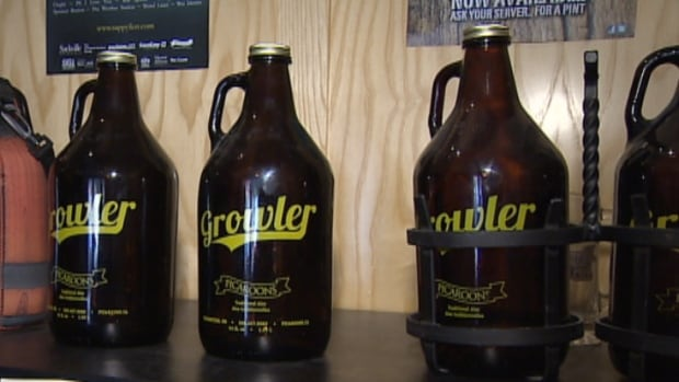 A 64-ounce growler holds more than five cans of beer.