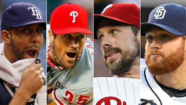 From left, Tampa Bay's David Price and fellow starting pitchers Cole Hamels and Cliff Lee of the Philadelphia Phillies and San Diego's Ian Kennedy could be on the move prior to Thursday's 4 p.m. ET non-waiver trade deadline.