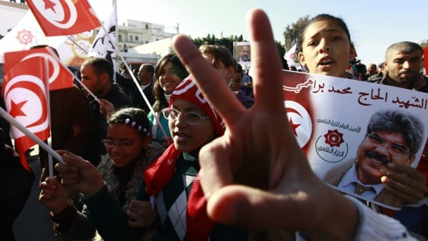 Tunisians rally in Sidi Bouzid, the birthplace of the Arab Spring, Dec. 17, 2013, to mark the third anniversary of the uprising.