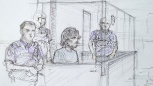 Artist's sketch of Justin Bourque in Moncton court on July 31