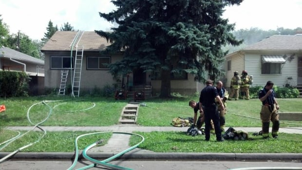 Thirty firefighters worked to put out an intense blaze that destroyed the main floor of an Edmonton home Thursday.