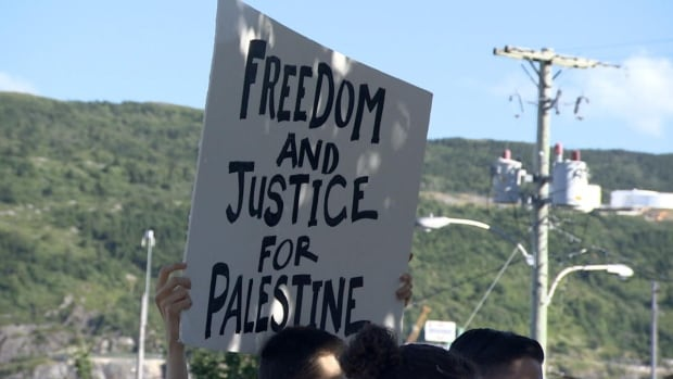A few dozen people attended a rally protesting Israeli violence in Gaza.